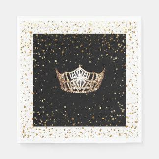 Guardanapo De Papel O ouro da coroa do ouro da senhorita América Stars