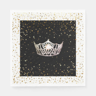 Guardanapo De Papel O ouro de prata da coroa da senhorita América