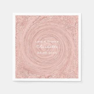 Guardanapo De Papel O ouro do rosa do rosa cora nupcial branco