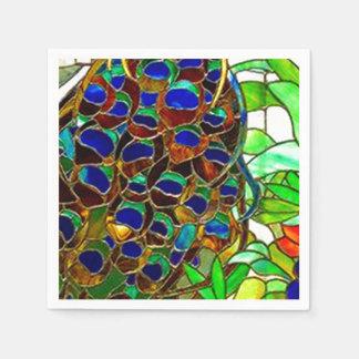 Guardanapo De Papel O pavão empluma-se a janela de vitral do mosaico