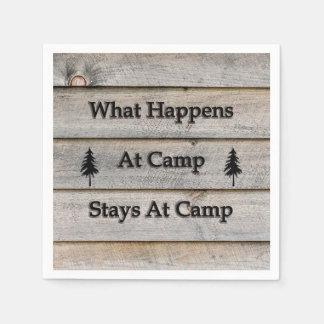 Guardanapo De Papel O que acontece em estadas do acampamento no