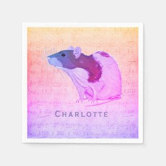 Guardanapo De Papel O rato cor-de-rosa do animal de estimação adiciona