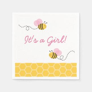Guardanapo De Papel O rosa Bumble o chá de fraldas da abelha