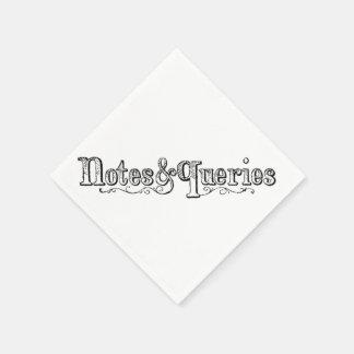 Guardanapo De Papel O vintage nota e pergunta Typograph