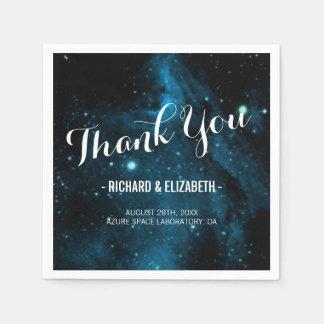 Guardanapo De Papel Obrigado azul do casamento da galáxia você