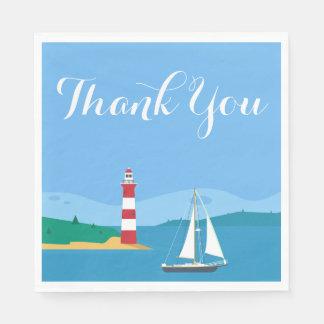 Guardanapo De Papel Obrigado azul náutico você veleiro & farol