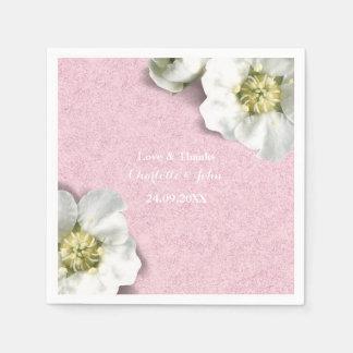 Guardanapo De Papel Obrigado cor-de-rosa floral personalizado real do