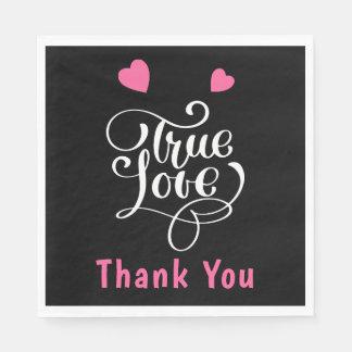 Guardanapo De Papel Obrigado cor-de-rosa & os corações verdadeiros