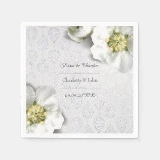 Guardanapo De Papel Obrigado de prata floral personalizado real do