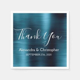Guardanapo De Papel Obrigado do casamento dos azuis marinhos você