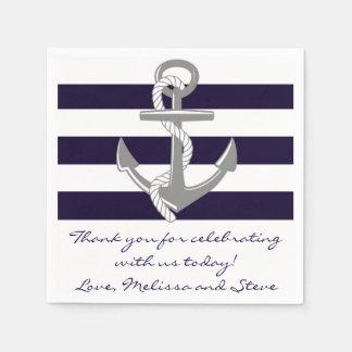 Guardanapo De Papel Obrigado náutico dos azuis marinhos você