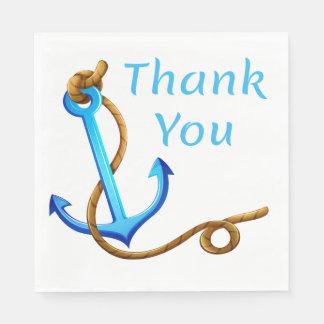 Guardanapo De Papel Obrigado náutico você envia a turquesa do azul da