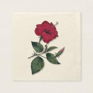 Guardanapo De Papel Obscuridade tropical - flor vermelha do hibiscus