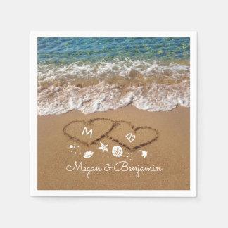 Guardanapo De Papel Ondas azuis do mar e casamento tropical dos