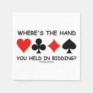 Guardanapo De Papel Onde a mão você é realizada no oferecimento? Jogo