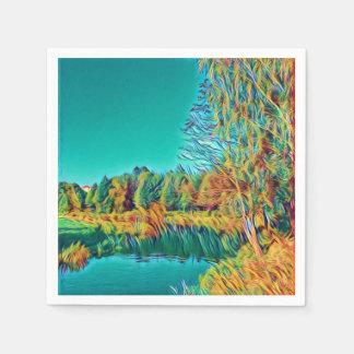 Guardanapo de papel original de arte da paisagem
