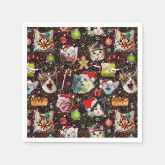 Guardanapo De Papel Os gatos do Natal na galáxia do espaço Stars o
