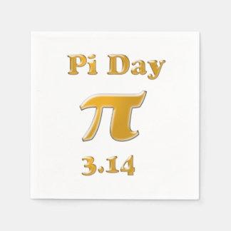 Guardanapo De Papel Ouro do dia do Pi no branco