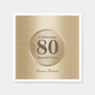 Guardanapo De Papel ouro do monograma da festa de aniversário do 80