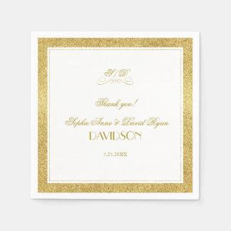 Guardanapo De Papel Ouro elegante e casamento branco da noite da beira