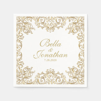 Guardanapo De Papel Ouro formal elegante do casamento & costume branco