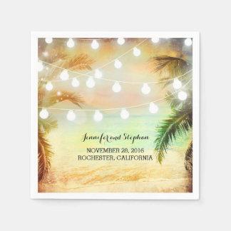 Guardanapo De Papel Palmas do por do sol da praia e luzes da corda que