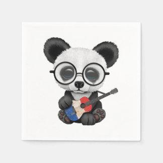 Guardanapo De Papel Panda do bebê que joga a guitarra francesa da
