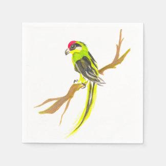 Guardanapo De Papel Papagaio em um ramo. Pintura da aguarela