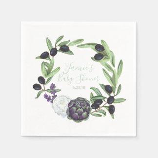 Guardanapo De Papel Papel rústico floral do Gardenia do chá de fraldas