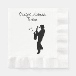 Guardanapo De Papel Parabéns do costume do jogador de saxofone
