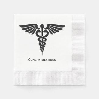 Guardanapo De Papel Parabéns médicos do Caduceus das insígnias