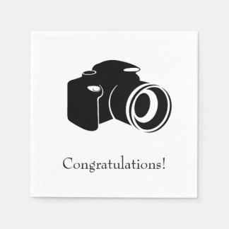 Guardanapo De Papel Parabéns preto e branco da câmera