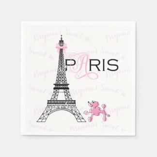 Guardanapo De Papel Partido cor-de-rosa da caniche de Paris France da