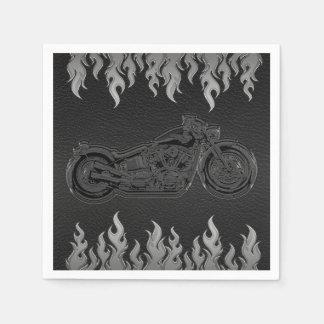 Guardanapo De Papel Partido de prata de couro preto do motociclista da