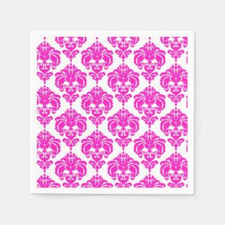 Guardanapo De Papel Partido elegante chique do damasco do rosa quente
