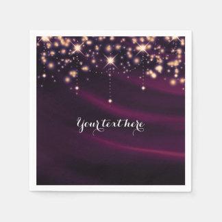 Guardanapo De Papel Partido Glam elegante roxo dos Sparkles da seda &