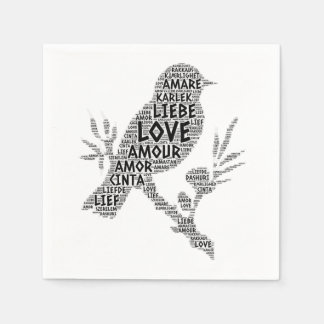 Guardanapo De Papel Pássaro ilustrado com palavra do amor