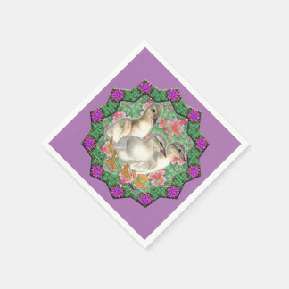 Guardanapo De Papel Patinhos e flores