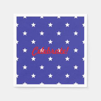 Guardanapo De Papel Patriótico do vermelho, o branco e o azul