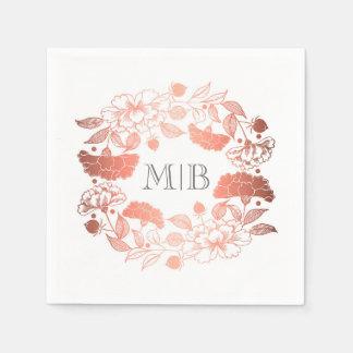 Guardanapo De Papel Peônias cor-de-rosa do ouro - casamento floral do
