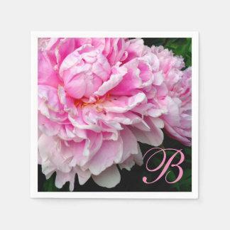 Guardanapo De Papel Peônias cor-de-rosa e brancas - monograma