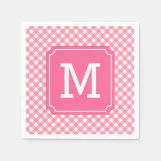 Guardanapo De Papel Personalize o monograma à moda do guingão do rosa