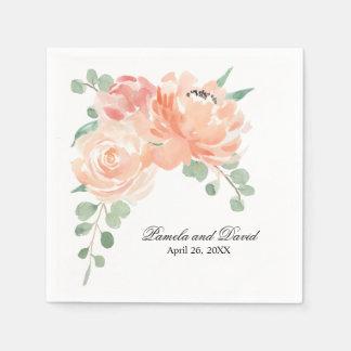Guardanapo De Papel Pêssegos e casamento floral da aguarela de creme