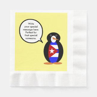 Guardanapo De Papel Pinguim cubano de fala da bandeira