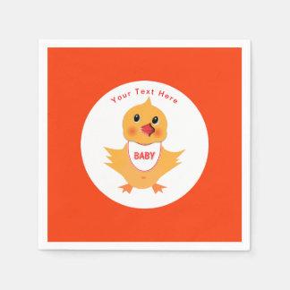 Guardanapo De Papel Pintinho amarelo do bebê da galinha personalizado