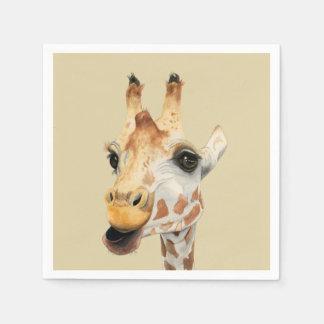 """Guardanapo De Papel Pintura da aguarela do girafa da """"mastigação"""""""