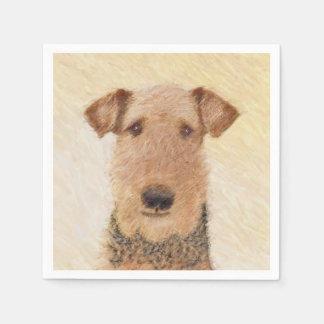 Guardanapo De Papel Pintura de Airedale Terrier - arte original bonito