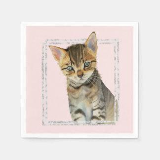 Guardanapo De Papel Pintura do gatinho do gato malhado com quadro de