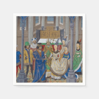 Guardanapo De Papel Pintura medieval do casamento da raça misturada