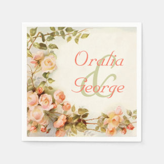 Guardanapo De Papel Pintura romântica do vintage dos rosas que wedding